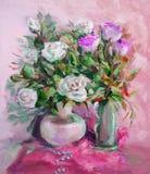 Pittura a olio, stile di impressionismo, pittura di struttura, stil del fiore fotografia stock