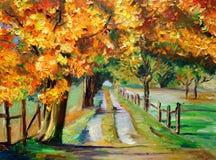 Pittura di OilOil - strada campestre con l'acero Fotografia Stock