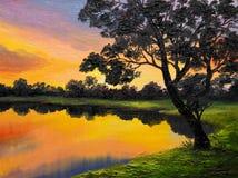 Pittura a olio su tela - albero vicino al lago Fotografia Stock