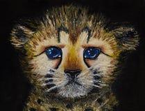 Pittura a olio su tela del primo piano del cucciolo neonato del ghepardo isolato su fondo nero immagine stock libera da diritti