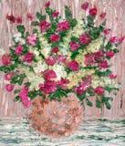 Pittura a olio Un mazzo fertile dei fiori rossi Fotografie Stock Libere da Diritti