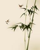 Pittura orientale di stile, filiali di bambù Fotografie Stock Libere da Diritti