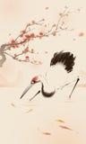Pittura orientale di stile, gru Rosso-incoronata Immagine Stock