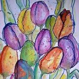 Pittura originale dei tulipani Fotografie Stock Libere da Diritti
