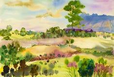 Pittura originale del paesaggio dell'acquerello variopinta della montagna e della casa di legno immagini stock libere da diritti