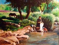 Pittura originale del Washerwoman Fotografia Stock
