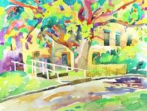 Pittura originale dell'acquerello da un albero Fotografie Stock Libere da Diritti