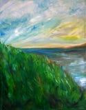 Pittura piena di sole del lago Immagine Stock