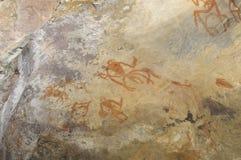 Pittura preistorica della caverna Bhimbetka - in India. Fotografie Stock