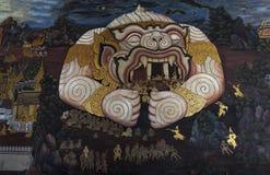Pittura pubblica di arte a Wat Phra Kaew Fotografie Stock Libere da Diritti