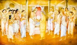 Pittura religiosa in un tempiale buddista illustrazione vettoriale