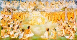 Pittura religiosa in un tempiale buddista royalty illustrazione gratis