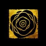 Pittura Rose Flower Art Illustration strutturata brillante dell'oro Vec Immagini Stock Libere da Diritti