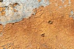 Pittura scheggiata su una vecchia struttura di legno della parete Fotografia Stock