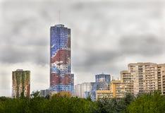 Pittura sconosciuta sulle costruzioni di appartamenti Fotografia Stock Libera da Diritti