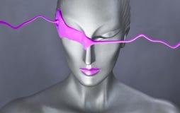 Ritratto della ragazza; gray con il trucco rosa; Immagine Stock Libera da Diritti