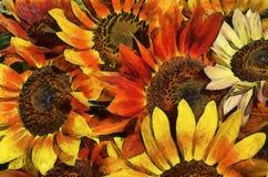 Pittura simulata girasole Fotografia Stock Libera da Diritti