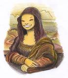 Pittura sorridente di Mona lisa illustrazione vettoriale