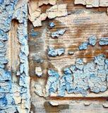 Pittura spogliata sporca nella porta di legno blu e nel chiodo arrugginito fotografia stock