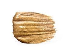 Pittura strutturata dell'oro sul fondo bianco Struttura di oro Fotografia Stock Libera da Diritti