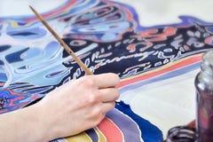 Pittura sul tessuto Immagine Stock