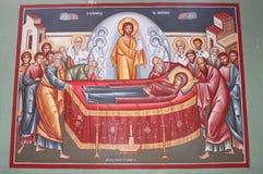 Pittura sulla chiesa ortodossa a Capernaum Fotografie Stock Libere da Diritti