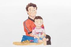 Pittura sveglia del fumetto del ritratto felice della famiglia Immagini Stock Libere da Diritti