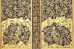 Pittura tailandese tradizionale antica di stile, primo piano Fotografie Stock