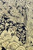 Pittura tailandese tradizionale di arte di stile dell'annata Fotografie Stock