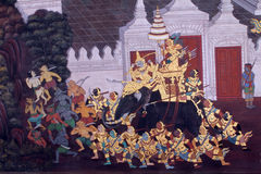 Pittura tailandese tradizionale di arte su una parete Immagini Stock Libere da Diritti