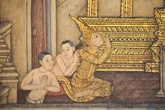 Pittura tailandese tradizionale di stile sulla parete del tempiale Fotografia Stock Libera da Diritti