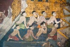 Pittura tailandese tradizionale di stile sulla parete del tempiale Immagini Stock Libere da Diritti
