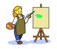 Pittura teenager della ragazza illustrazione di stock