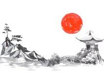 Pittura tradizionale del sumi-e del Giappone Montagna di Fuji, sakura, tramonto Sole del Giappone Illustrazione dell'inchiostro d illustrazione di stock