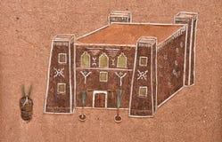 Pittura tradizionale della parete di Kasbah del marocchino Fotografie Stock