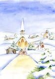 Pittura tradizionale di vecchio modo di Eve Watercolor di Natale Immagini Stock