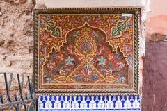 Pittura tradizionale ornamentale, Marocco Fotografia Stock Libera da Diritti
