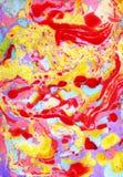 Pittura turca variopinta di Ebru sull'acqua Struttura f di gouache Immagini Stock Libere da Diritti