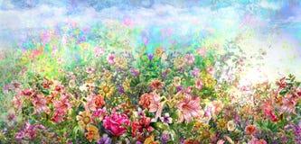 Pittura variopinta astratta dell'acquerello dei fiori Primavera multicolore in natura illustrazione vettoriale