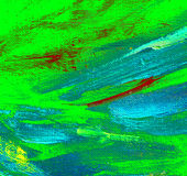 Pittura verde blu astratta dall'olio su tela, illustrazione Immagini Stock Libere da Diritti