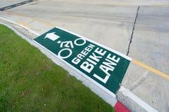 Pittura verde del percorso del vicolo della bici Immagine Stock Libera da Diritti
