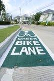 Pittura verde del percorso del vicolo della bici Immagini Stock