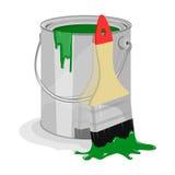 Pittura verde e spazzola da dipingere Immagine Stock Libera da Diritti