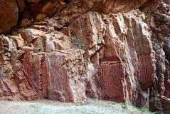 Pitture aborigene stilizzate sul fronte del pock Fotografie Stock Libere da Diritti