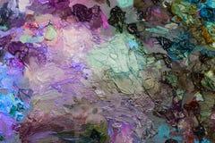 pitture ad olio degli artisti sulla tavolozza di legno Immagine Stock Libera da Diritti