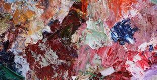 Pitture ad olio di miscelazione su una tavolozza Fotografia Stock
