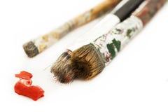 Pitture ad olio e pennelli Fotografia Stock