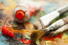 Pitture ad olio e pennelli Immagine Stock Libera da Diritti