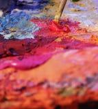 Pitture ad olio mescolantesi Fotografia Stock Libera da Diritti