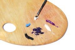 Pitture ad olio sulla tavolozza Fotografia Stock Libera da Diritti